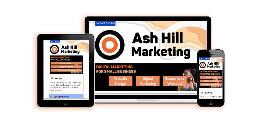 Mockup of several screens with Ash Hill Marketing Logo